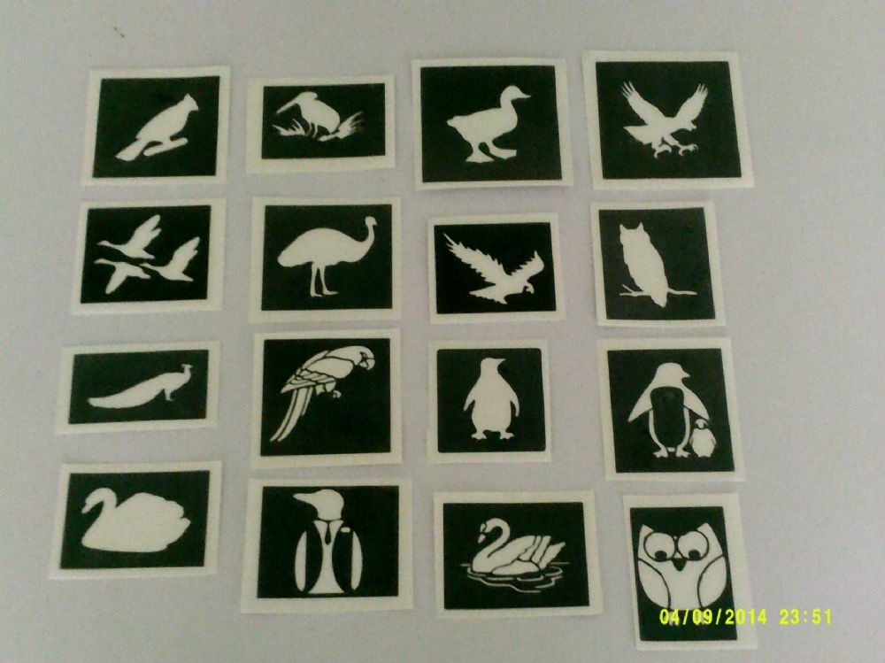 Bird Themed Stencils For Etching On Glass Swan Ostrich